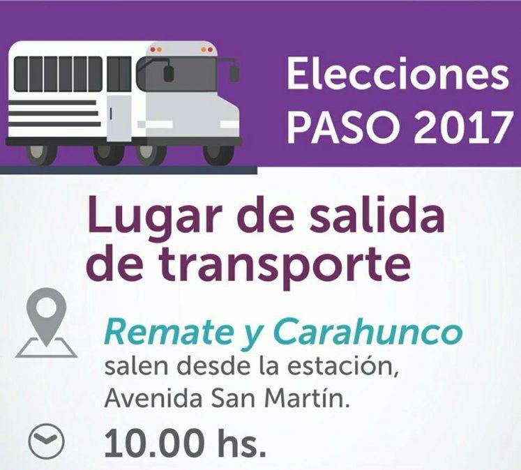 Transporte gratis para las PASO también en Palpalá