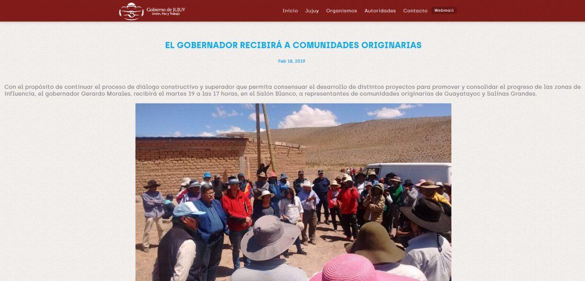 Las comunidades esperan a Morales en Saladillo
