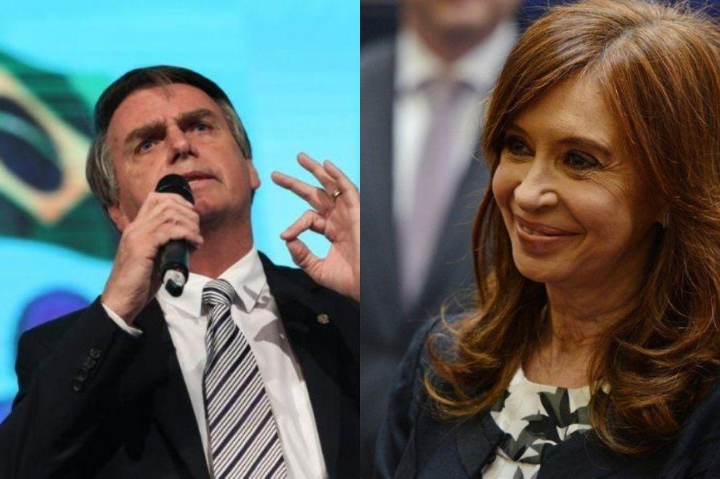 Bolsonaro criticó la candidatura de Cristina Kirchner