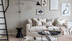 Decoración Minimalista: Departamento en tonos beige y gris