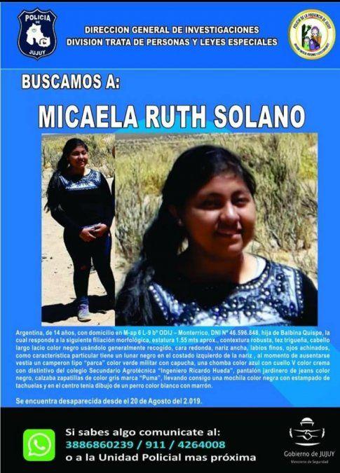 Continúa la búsqueda de Micaela Solano