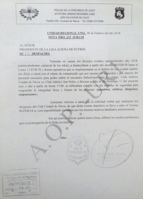 Se reprograma el partido de Nieva vs. Atlético San Pedro
