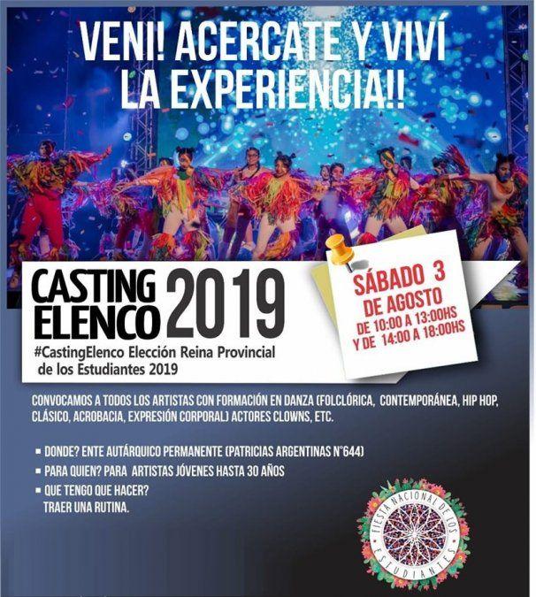 Casting para el espectáculo de la Elección Reina Provincial