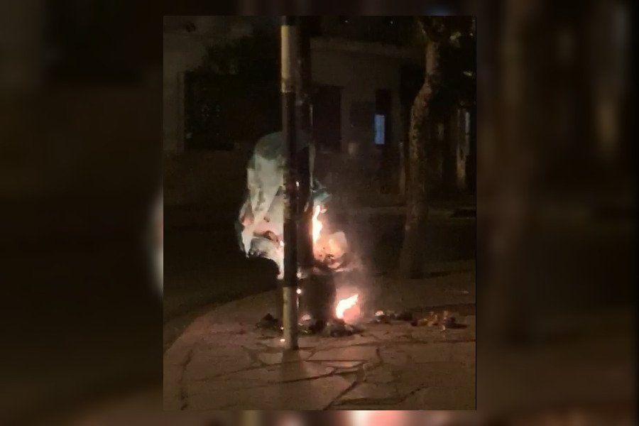Prendieron fuego un tacho de basura en pleno centro de Jujuy