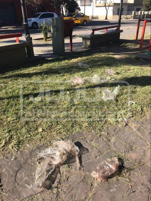 Vecinos molestos por bolsas de carne que terminan en la plaza