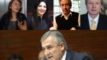 Arriba, de izq. a der.: Nora Millone, Mariana Bernal, René Barrionuevo y Alejandro Ficoseco, los acusados por el gobernador Morales.
