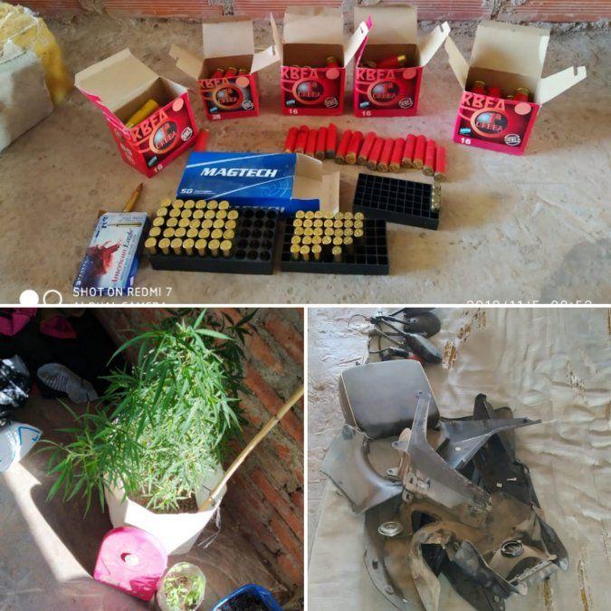 Dos detenidos, secuestro de motopartes, balas y plantas de marihuana