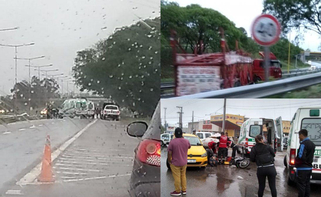 Rutas mojadas y varios accidentes en Jujuy