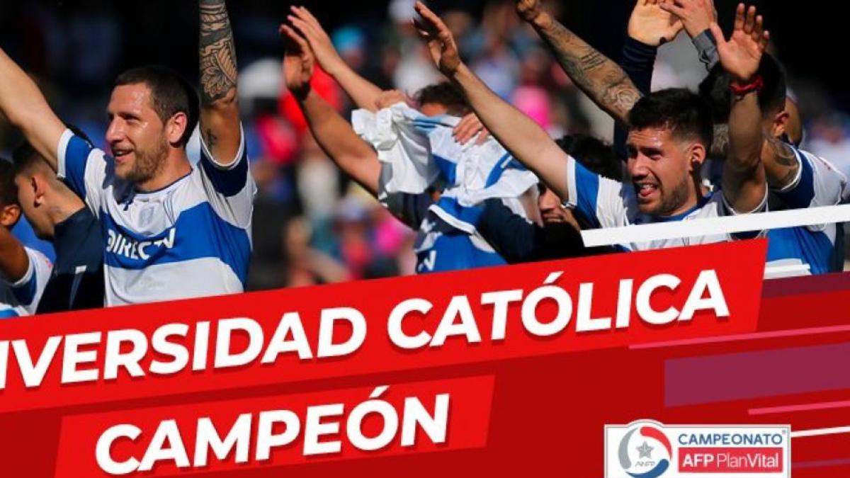 Después de la suspensión del campeonato, la Católica festejó el título a cancha vacía
