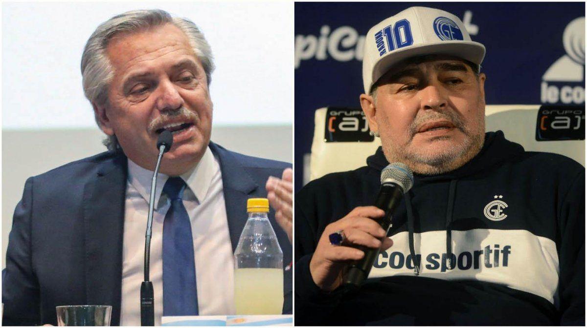 Alberto Fernández recibe a Maradona en la Casa Rosada