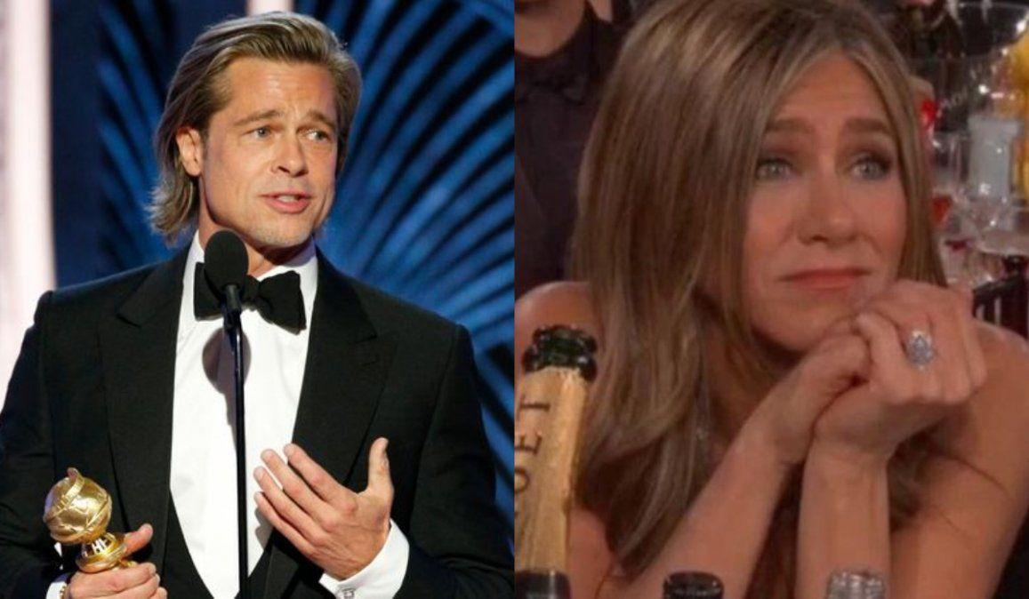 Brad Pitt bromeó con DiCaprio y Jenifer Aniston durante los Globo de Oro 2020