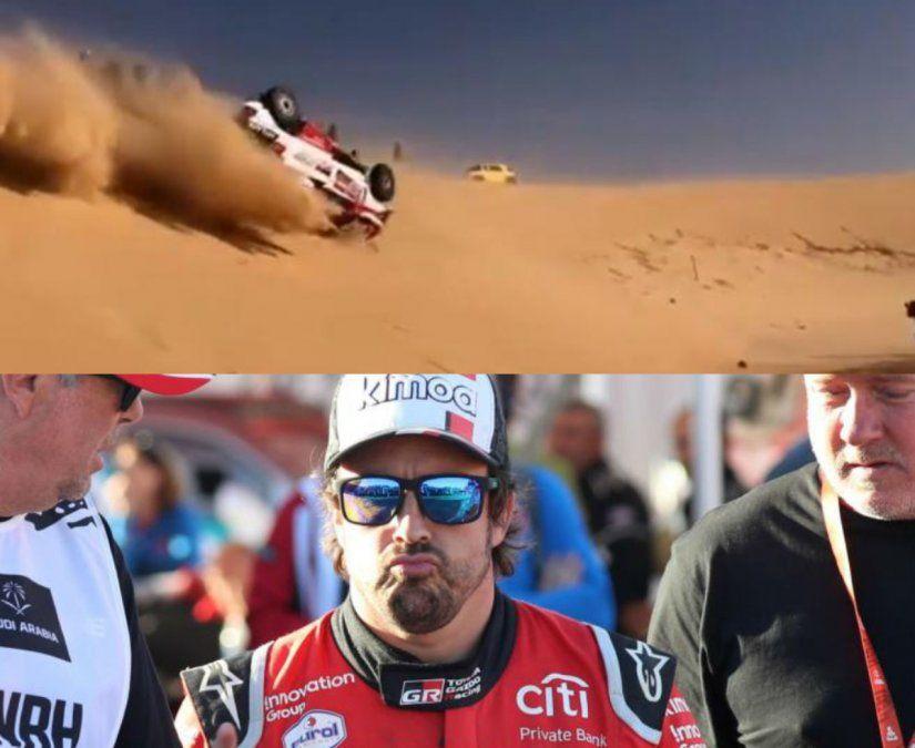 Espectacular vuelco de Alonso en el Dakar