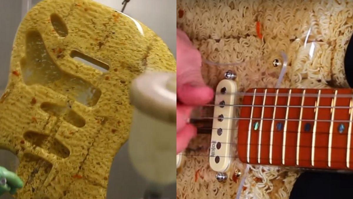 Fabricó una guitarra con fideos y funciona a la perfección