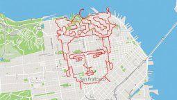 un runner realiza obras de arte corriendo por las calles de san francisco
