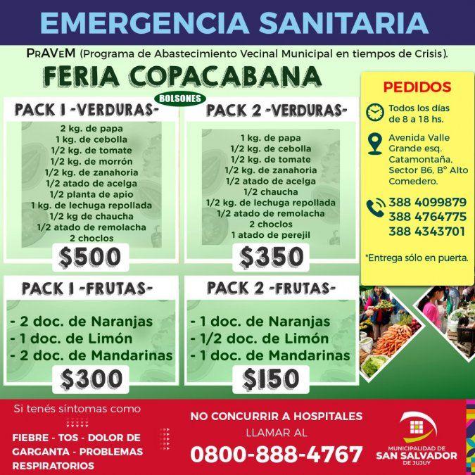 Vecinos de San Salvador podrán pedir bolsones de alimentos vía delivery
