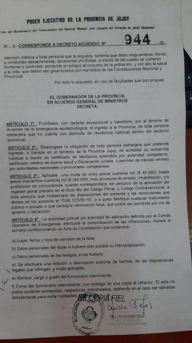 Jujuy prohibió el ingreso de extranjeros por el tiempo que dure la pandemia