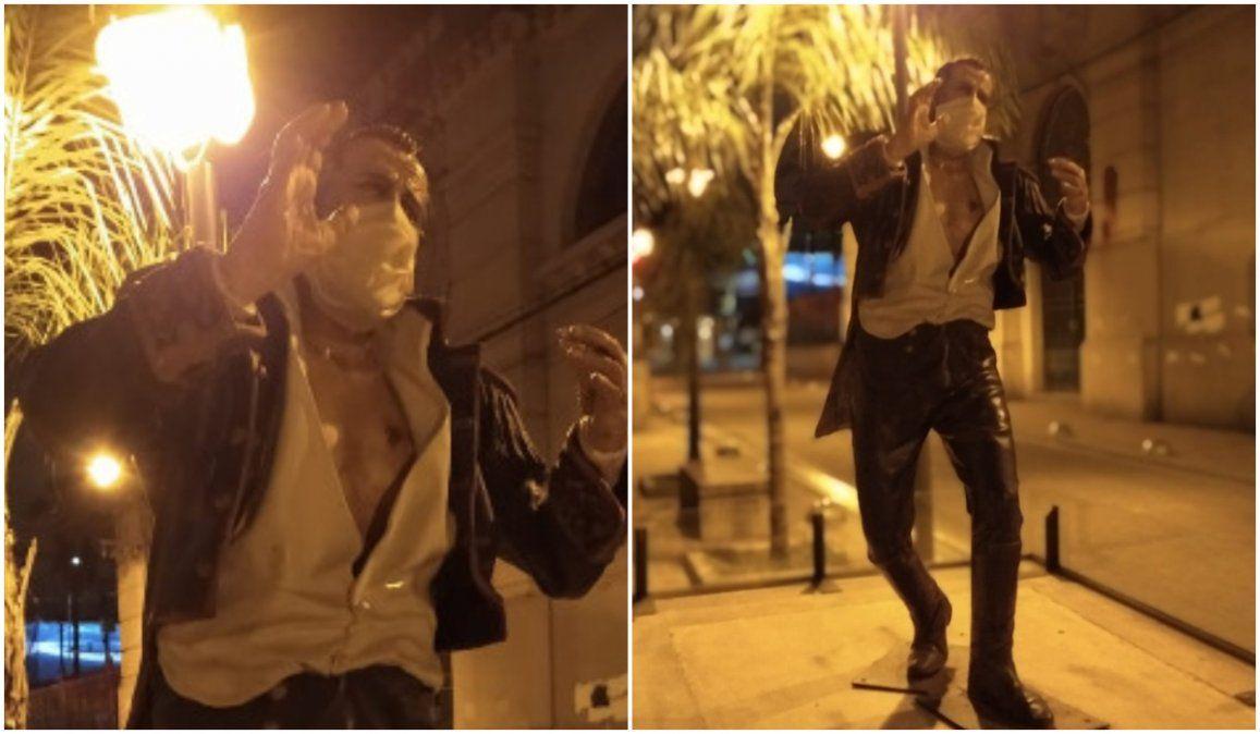 Insólito, le pusieron un barbijo a la estatua del General Lavalle