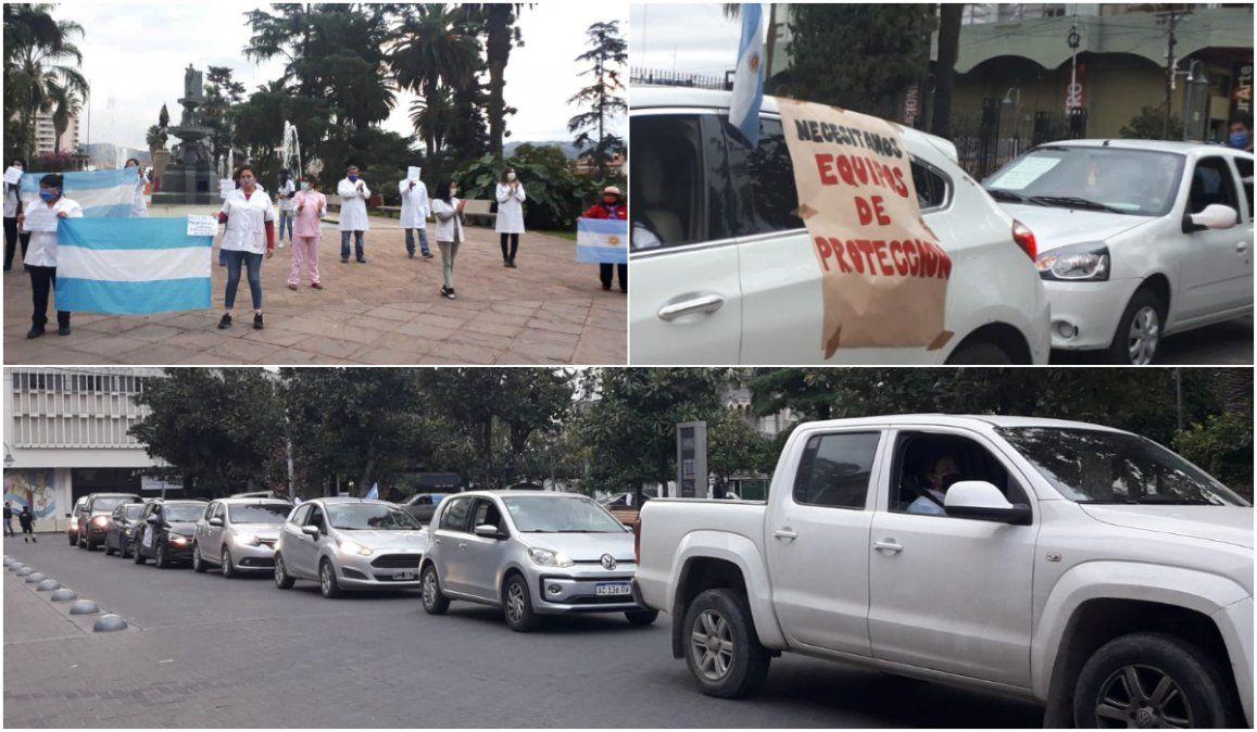 Bocinazos, banderas y pancartas en otra protesta de médicos y trabajadores de la salud