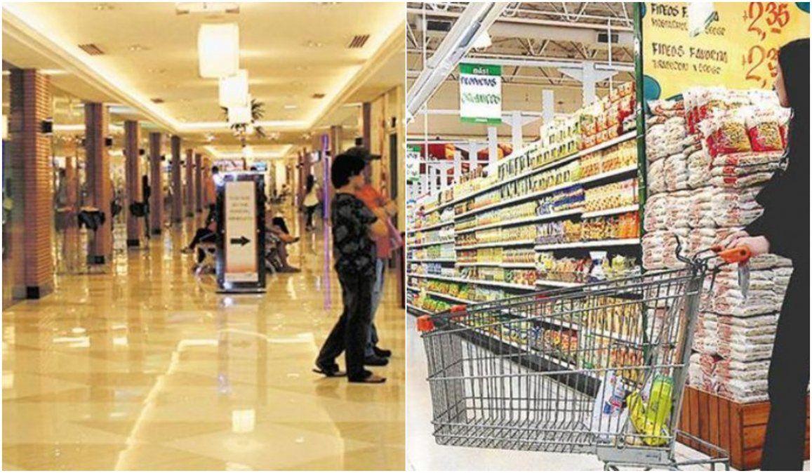 Las ventas en supermercados se mantuvieron mientras que en shoppings se hundieron