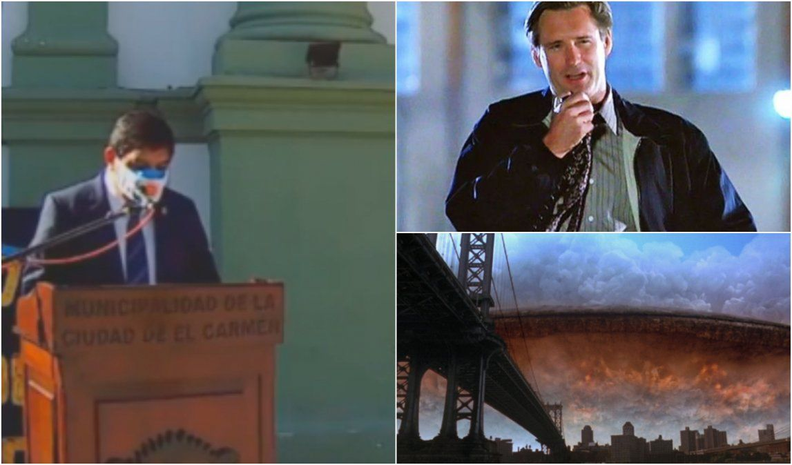 ¿El intendente de El Carmen robó el discurso de la película Día de la Independencia?