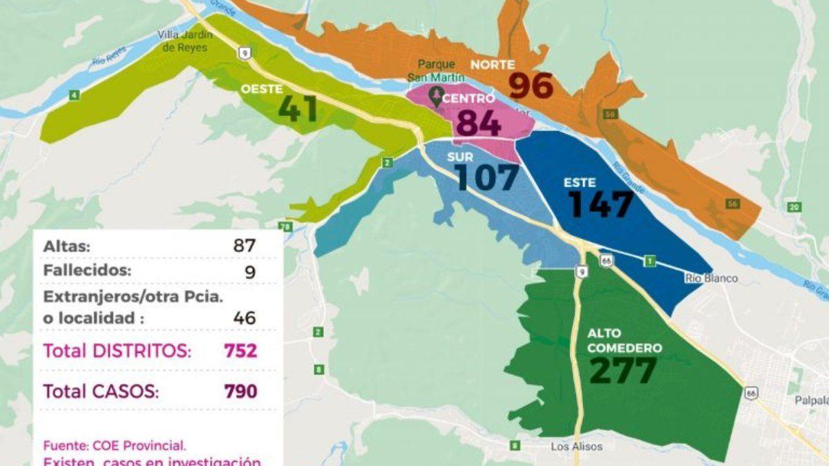 Con 790 casos, así quedó el mapa de contagios en San Salvador