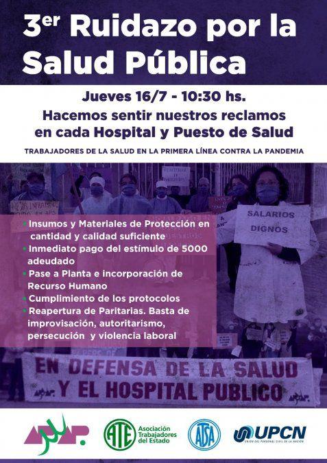 Trabajadores de la primera línea vuelven a protestar en defensa de la salud este jueves