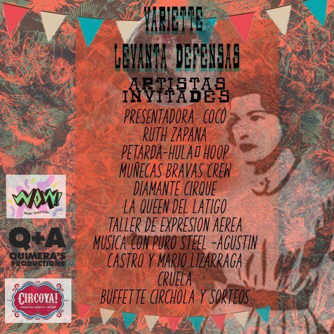 Invitan a una varieté artística con música, baile y circo social