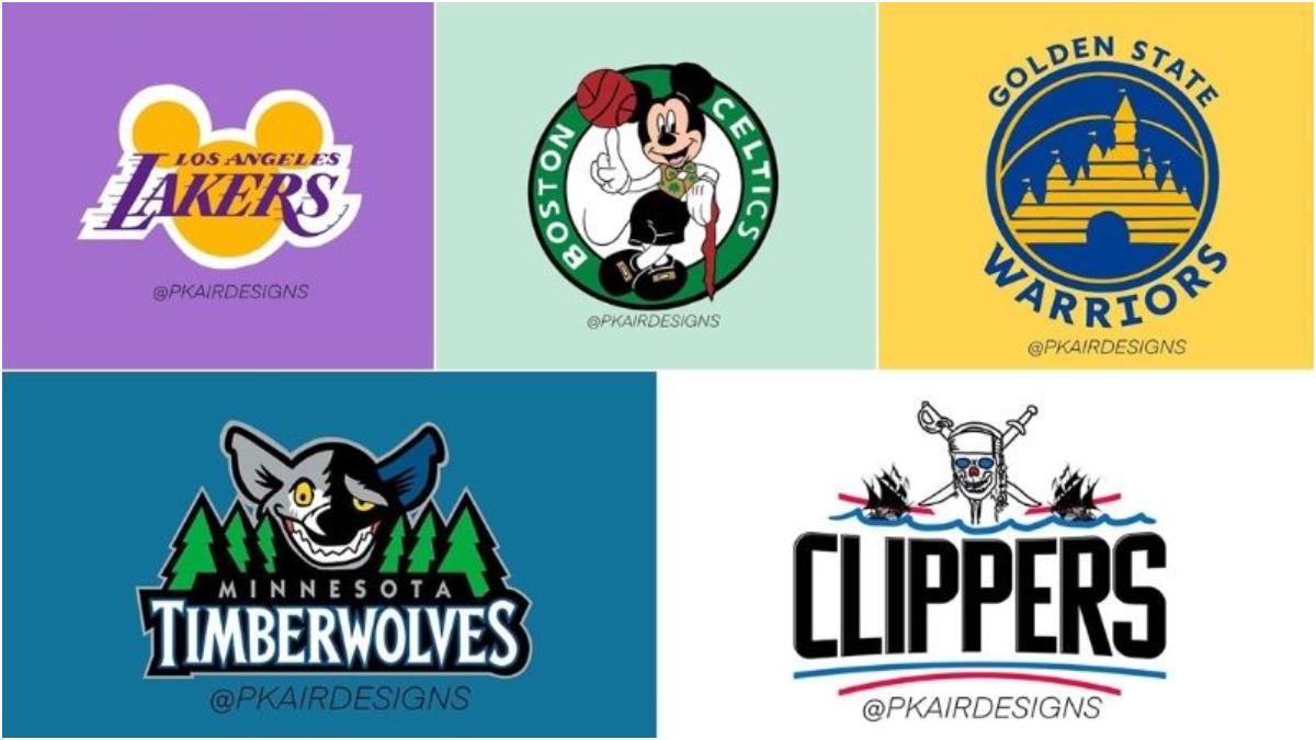 Fusionaron los logos de los equipos de la NBA con los personajes de Disney