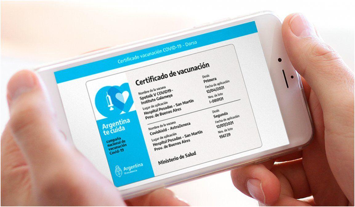 Más de 7 millones de argentinos tienen el certificado de vacunación en sus celulares