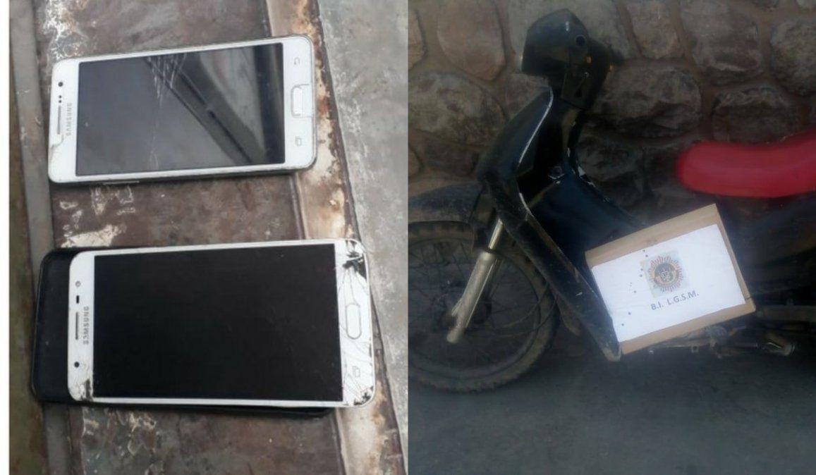 Secuestran celulares de dudosa procedencia y una moto robada