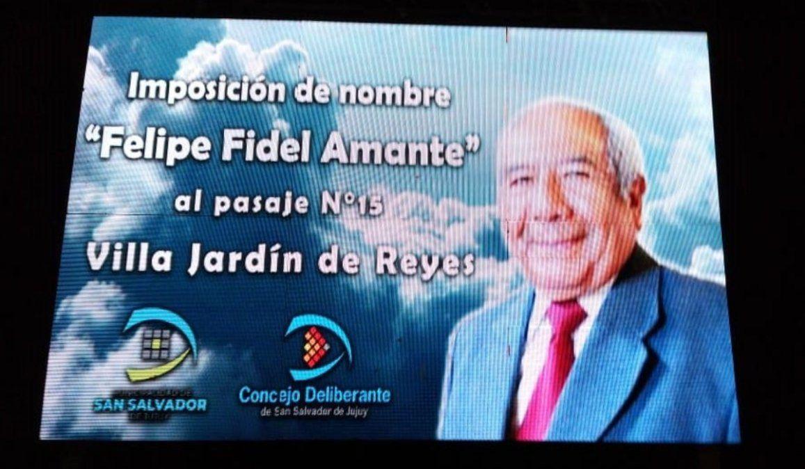 Se impuso el nombre de Felipe Fidel Amante a una calle de Reyes