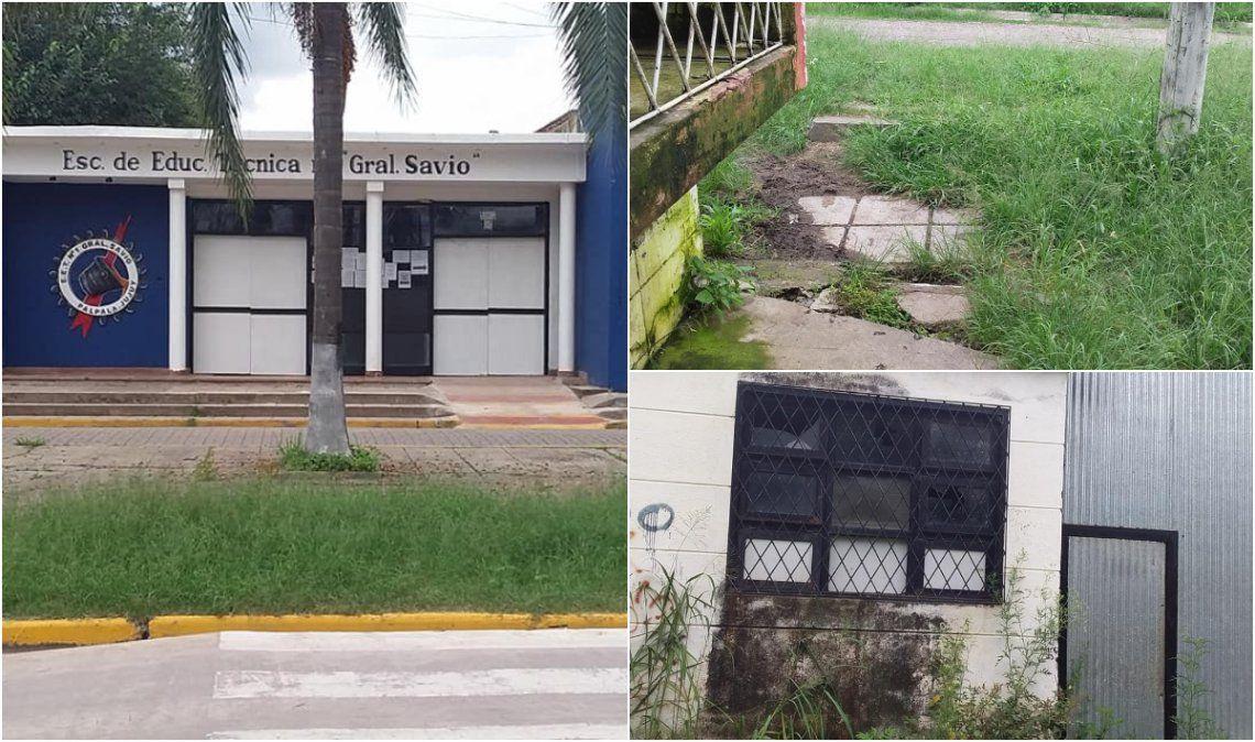 Maleza, vidrios rotos y paredes que se caen, la postal de una escuela palpaleña