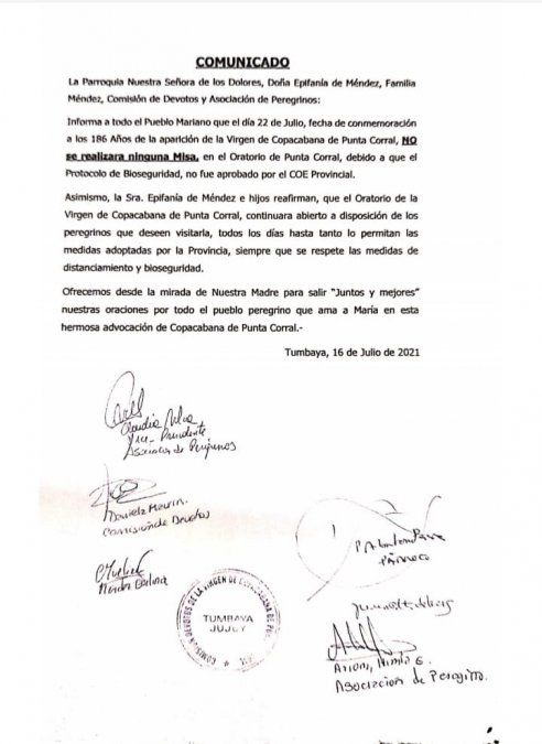 Otra decisión del COE contra los devotos de la Virgen de Punta Corral