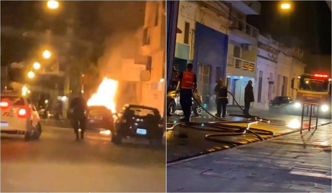 Se incendió un auto en pleno centro de Jujuy