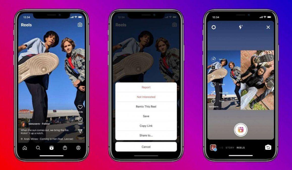 Cómo funciona Reels Remix, la nueva embestida de Instagram contra TikTok