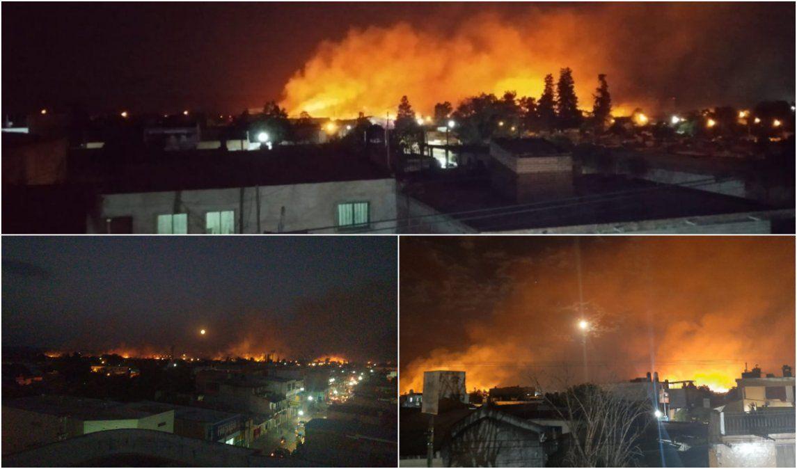 Se produjo un gran incendio forestal en cercanías al Aeropuerto de Perico