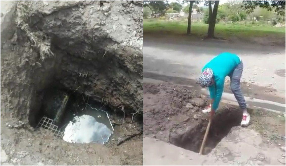 Se rompió un caño de Agua Potable y el vecino tuvo que hacerse cargo del arreglo