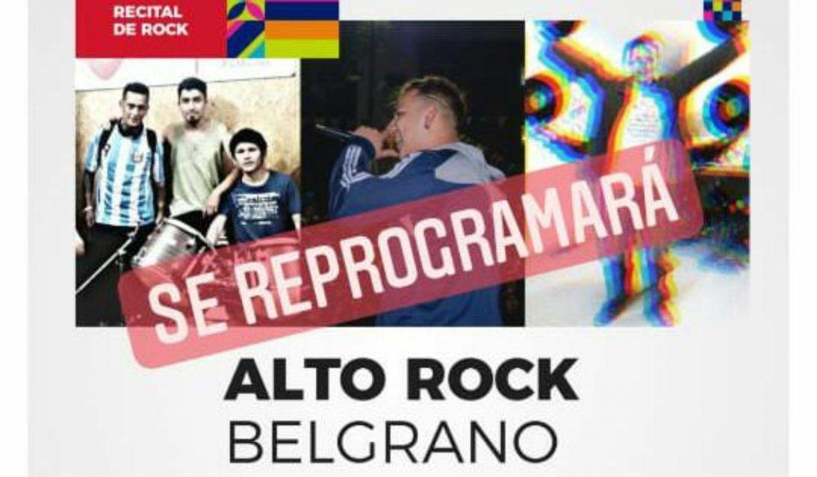 Suspendieron el Festival de rock y rap en el Parque Belgrano