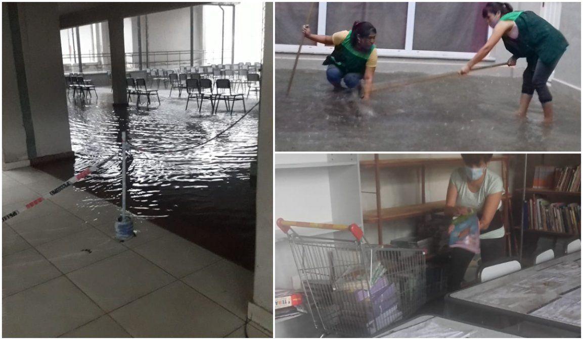 Temporal, escuela inundada y las condiciones edilicias en la mira