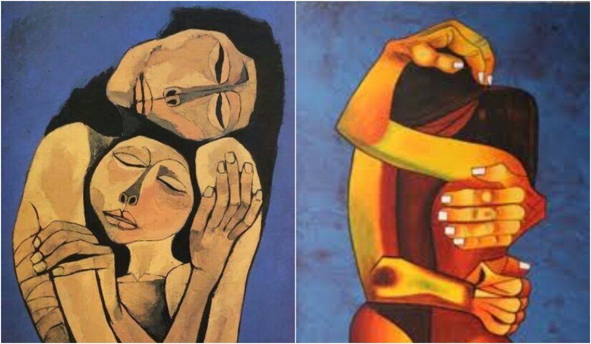 """""""Abrazos"""" por Oswaldo Guayasamín."""