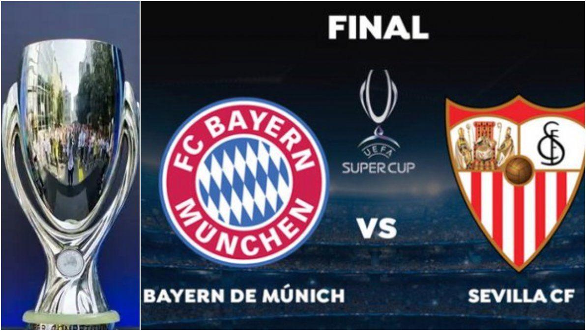 Con presencia argentina, Bayern Múnich y Sevilla definen la Supercopa de Europa