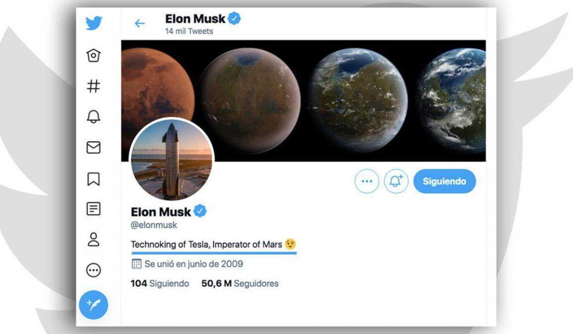 Elon Musk añade un nuevo título a su biografía en Twitter, ahora es Emperador de Marte