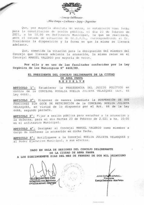 Se aprobó el inicio de juicio político y suspensión de la concejal Noelia Velásquez