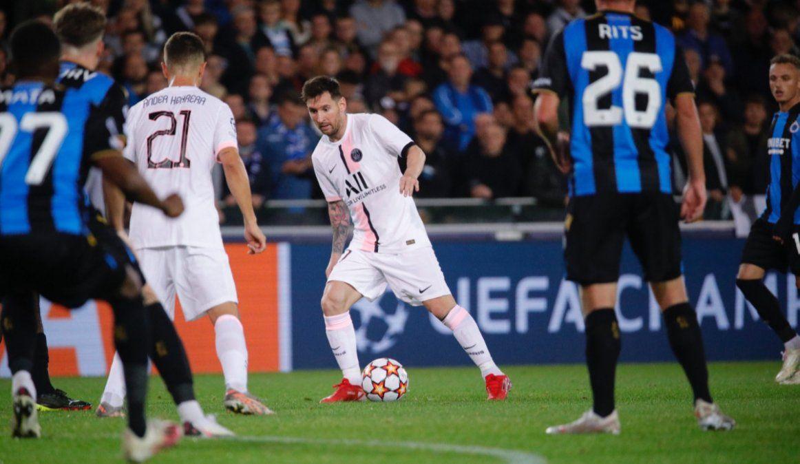 En el debut de Messi en la Champions, el PSG igualó con Brujas