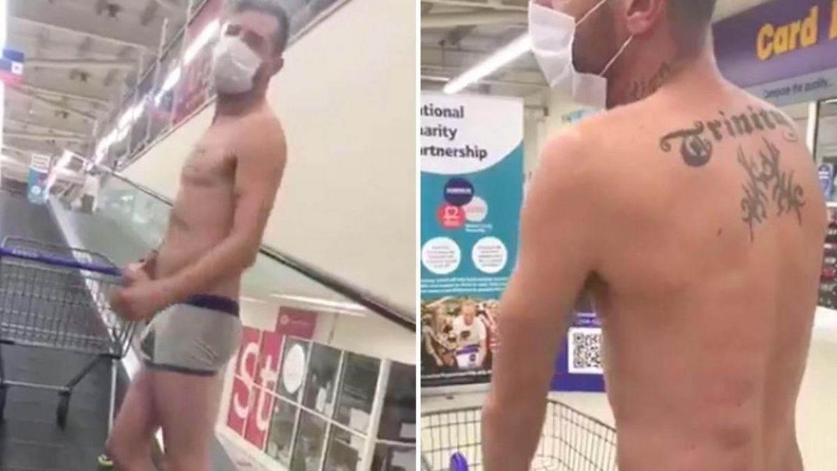 Se paseó semidesnudo por un supermercado porque aseguró que su ropa era no esencial